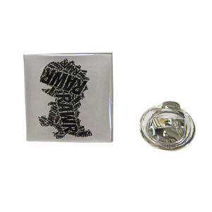 Square Fun T Rex Dinosaur Pendant Lapel Pin